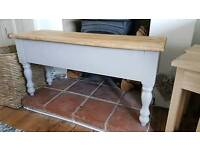 Handmade pine 3ft kitchen table bench hallway pale french grey with top waxed medium oak