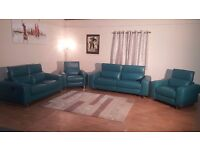 Ex-display Madison avenue turquoise recliner 3+2 seater sofas and 2 recliner armchairs