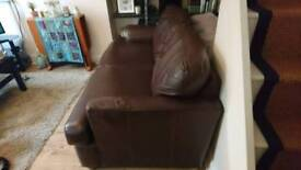Brown Leather Couch & Sofa Bed