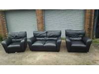 Nice black leather sofa suite .2 seater sofa and 2 armchairs.can deliver