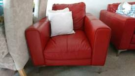 Red soft leather chair