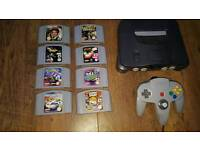 nintendo 64 with 8 games