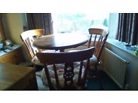 country cottage dining table and 3 chairs with cushions