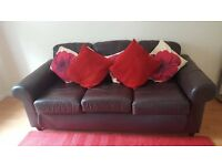 3 seat brown leather sofa, collection only.