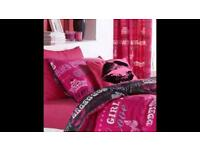 Xmas Girls single duvet set with curtains cushion cover and valance Immaculate make a great gift