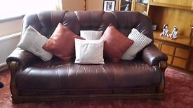 leather sofa chair and stool