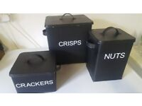3 storage tins of differnt sizes for Crackers, Crisps and Nuts