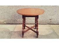 Antique vintage bar side table with copper top and turned legs