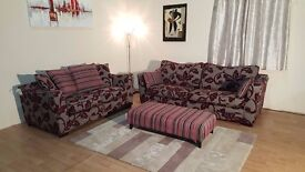 DFS Floral red/grey fabric 3 seater sofa, 2 seater sofa bed and footstool