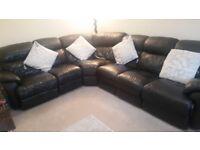 Black leather recliner corner sofa for sale excellent condition £500