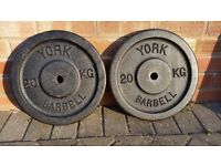 20KG YORK CAST IRON OR TRI GRIP WEIGHT PLATES