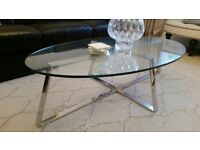 Large Oval glass and chrome frame Coffee Table