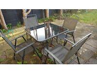 6 Piece Garden Patio Furniture Set - Black - Table, Chairs, Parasol