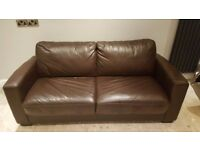 Brown Leather Double Sofa Bed For Sale