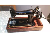 Singer 99K Heavy Duty Vintage Hand Cranked Sewing Machine In Very Good Working Condition