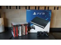 PS3 500gb like new with extra controller and 12 games