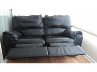 2x 2 seater black leather reclining sofa