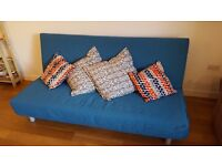 Selling NEW SOFA BED, 3 seats, turquoise cover, 200x104 cm, 200x200 cm when opened.