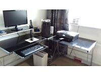 Corner Computer Desk Unit with Swivel Chair