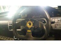 OMP Small Flat Bottom Racing Steering Wheel
