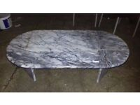 white/grey, marble oval shape coffee table