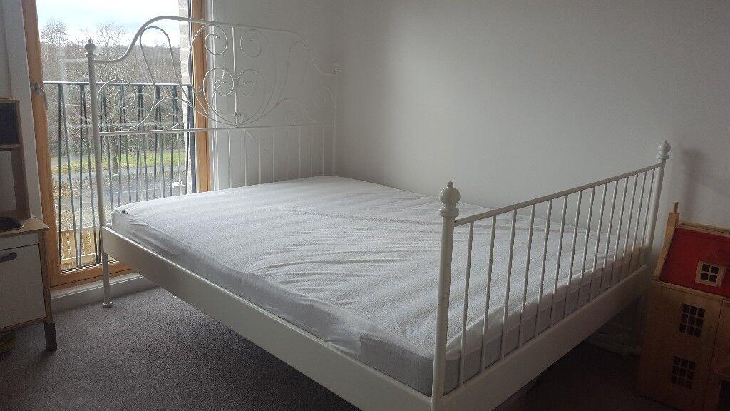 Ikea Standard King Leirvik Bed Frame White