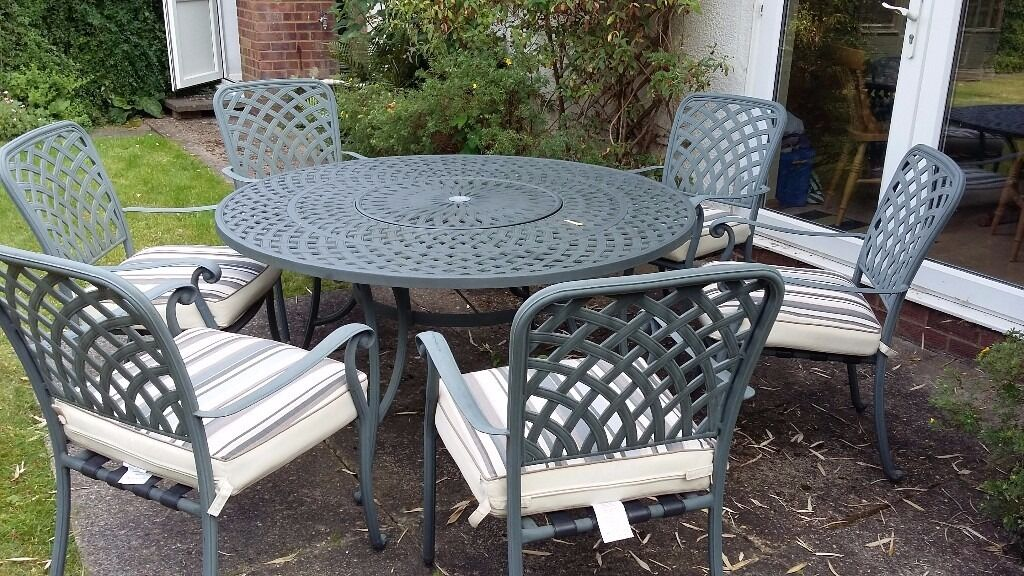 Green Wrought Iron Patio Set Round Table With 6 Chairs Parasol And