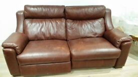 Leather 2-Person Sofa. Electric Reclining. Collection Only