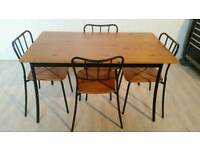 Solid Pine and Metal Dining Table and 4 Chairs