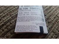 Alton towers tickets for sale