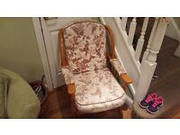 Vintage Retro Style Ercol Style Wing Back Style Armchair Fireside Bedroom Chair