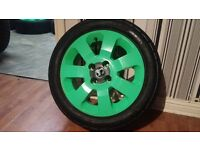 "Vauxhall Corsa 15"" Alloys Wheels and Tyres Lime Green Powder Coated 4x100 x4"