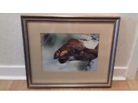 3 Framed and Mounted Wildlife Watercolour Paintings