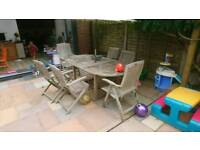 Teak 6 seater extending outdoor dining set