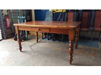 Farmhouse pine dining table with drawer