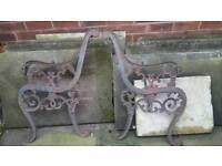 Lions head cast iron bench ends