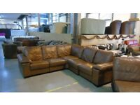 PRE OWNED Corner Sofa in Tan Leather