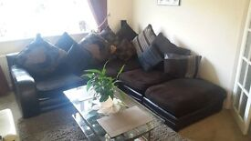 Large Corner Sofa (Leather and Fabric) - £200