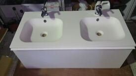 Gloss White Double Sink Vanity Unit