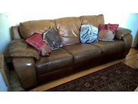 Leather 3-seater sofa, warm brown, very comfy, non-smoking pet free home, collection only