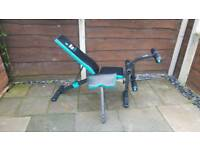 Weight bench with leg and preacher curl attachment