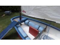 Optimist GRP sailing dinghy complete with sails, spars, foils, buoyancy bags, cover and wheels