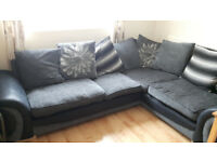 Fabric Corner Sofa with machine washable seat and pillow covers