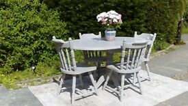 Lovely, Drop Leaf Dining Table & 4 Chairs. Shabby Chic, Paris Grey. Delivery Available.