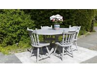 Lovely, Oval Dining Table & 4 Chairs. Shabby Chic, Paris Grey. Delivery Available.