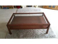 Large oak / glass coffee table