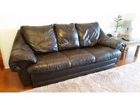 Leather Sofa (bed), Arm Chair and Pouffe