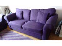 3 seater settee in Deep Purple x 2