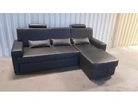 Corner sofa bed black leather - immaculate condition // free delivery
