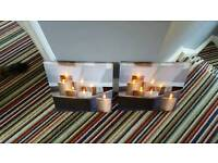 2 small canvas light up candle pics